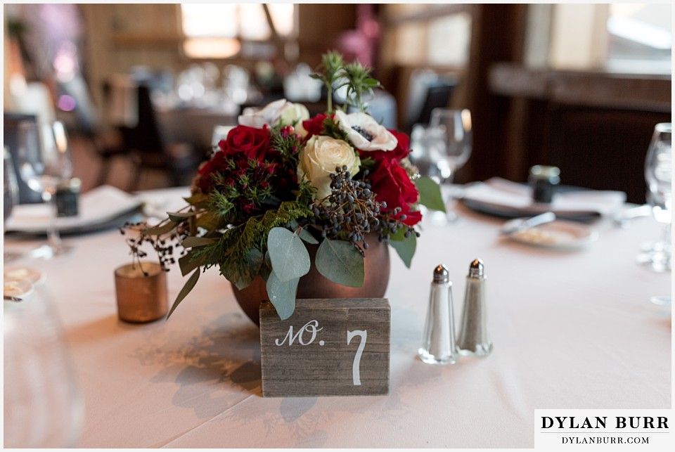 devils thumb ranch wedding in winter reception table setting