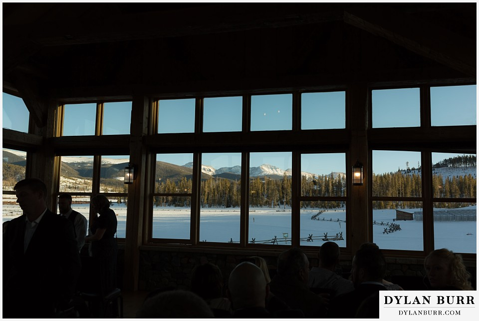 devils thumb ranch wedding in winter timber house mountain view