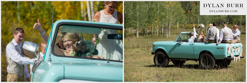 durango wedding photographer thumbs up bridal party exit international scout