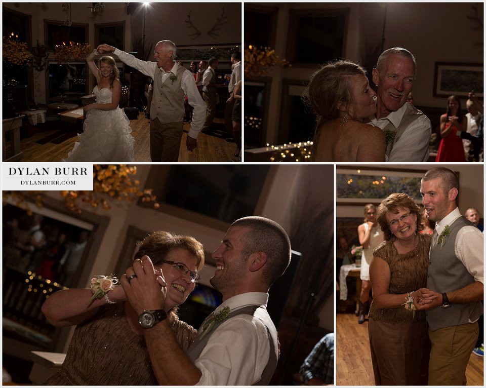 silverpick lodge reception durango wedding photographer father daughter mother son dance