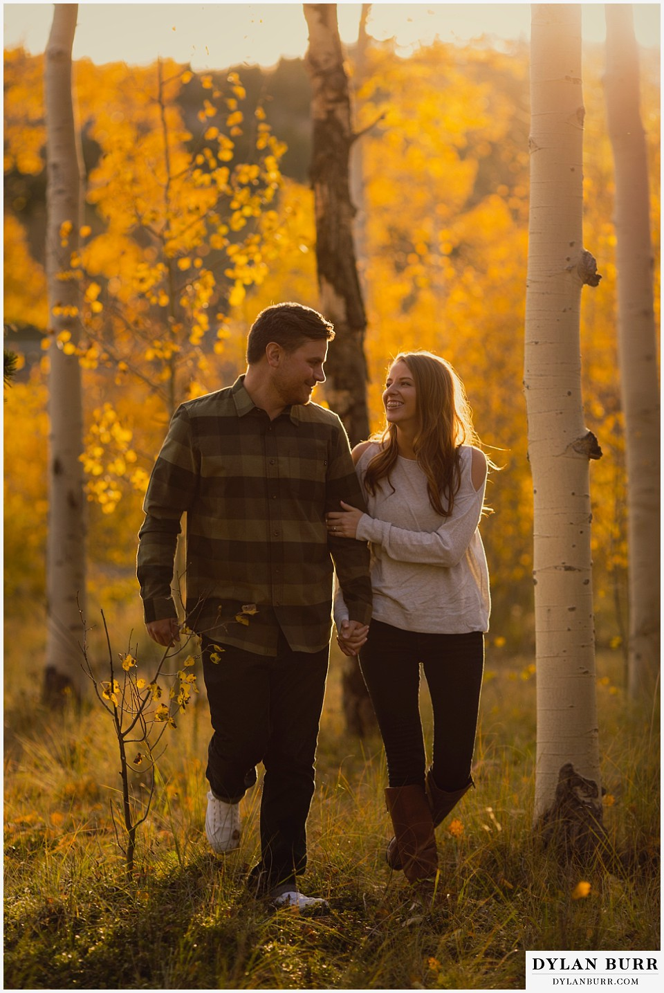 colorado mountains fall engagement photo session walking
