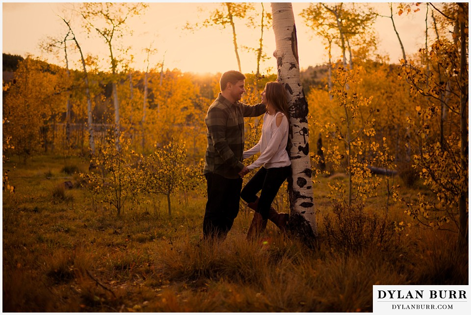 colorado mountains fall engagement photo session aspen trees
