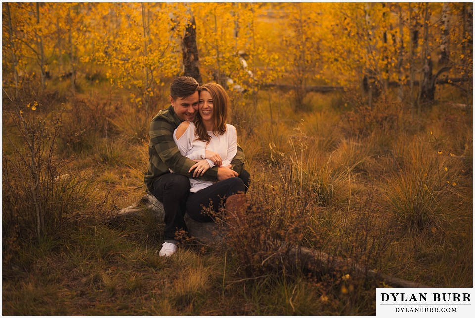 colorado mountains fall engagement photo session laughing