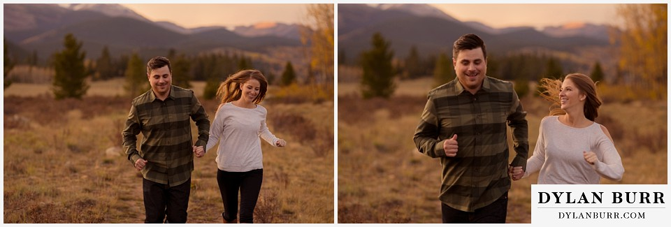colorado mountains fall engagement photo session running happy