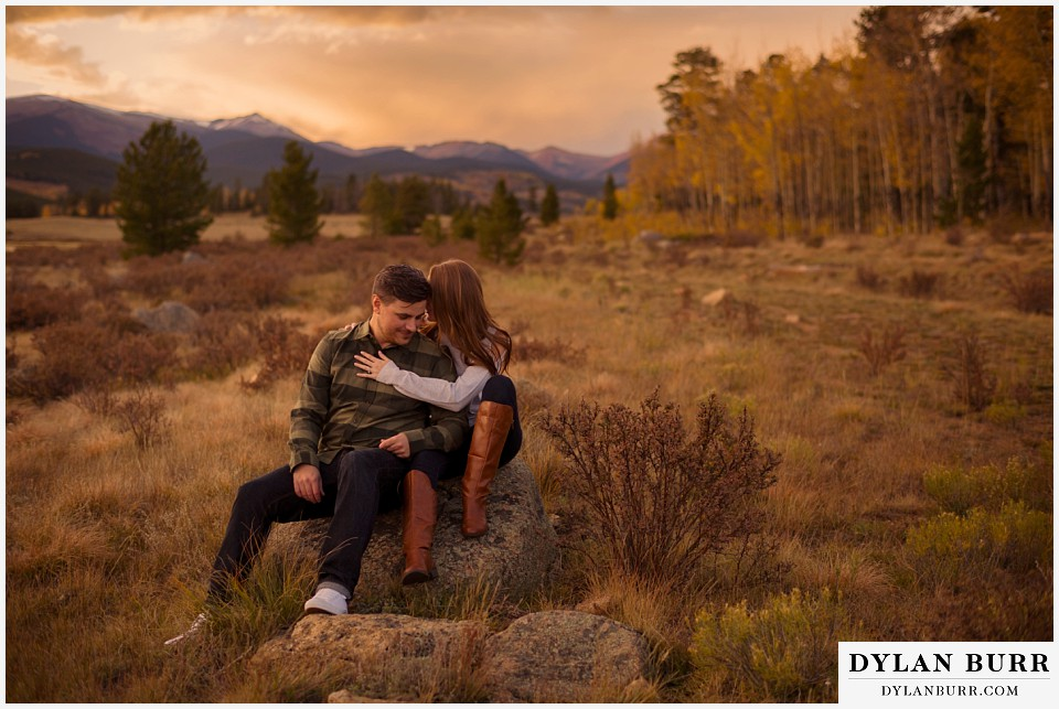 colorado mountains fall engagement photo session beautiful sunset mountain views
