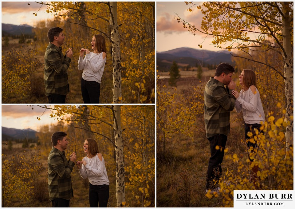 colorado mountains fall engagement photo session laughing together