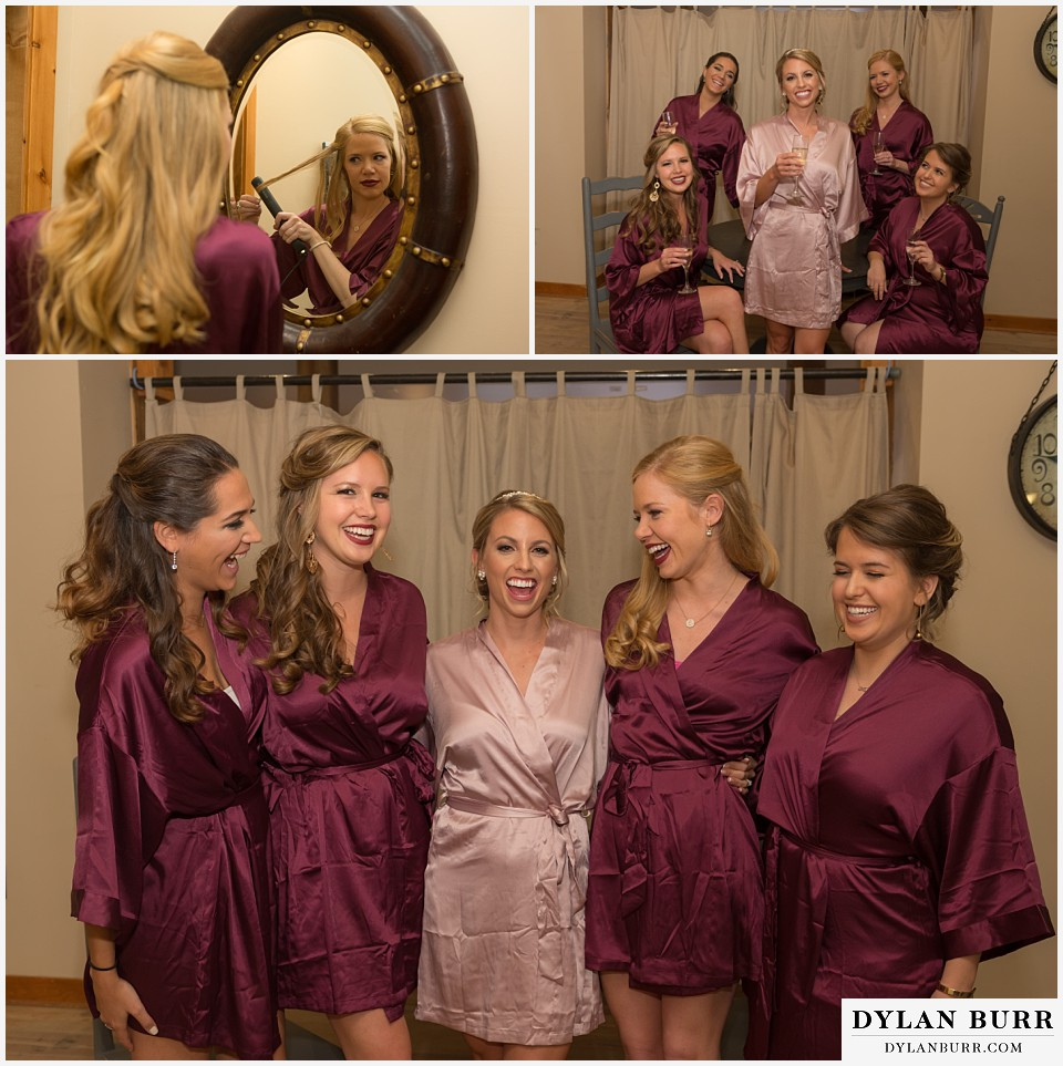 the lodge at sunspot wedding winter park bridesmaids in robes