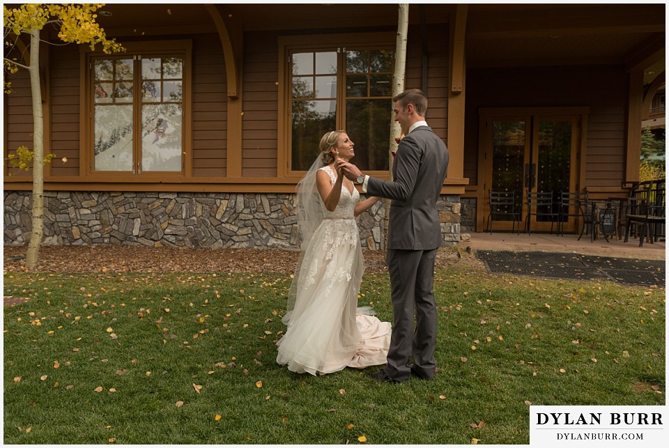 the lodge at sunspot wedding winter park first look mountain village