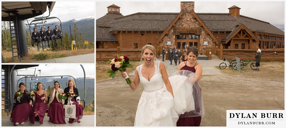 the lodge at sunspot wedding winter park bridal party on ski lift