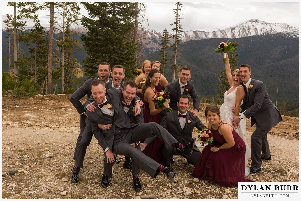 the lodge at sunspot wedding winter park fall mountain wedding fun bridal party photos