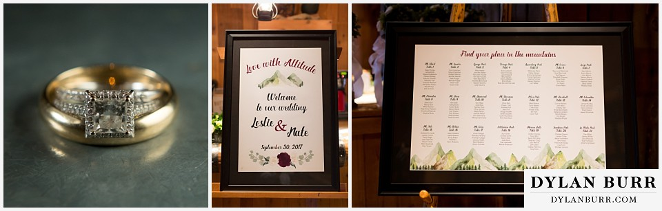 the lodge at sunspot wedding winter park weddomg details rings table seating chart