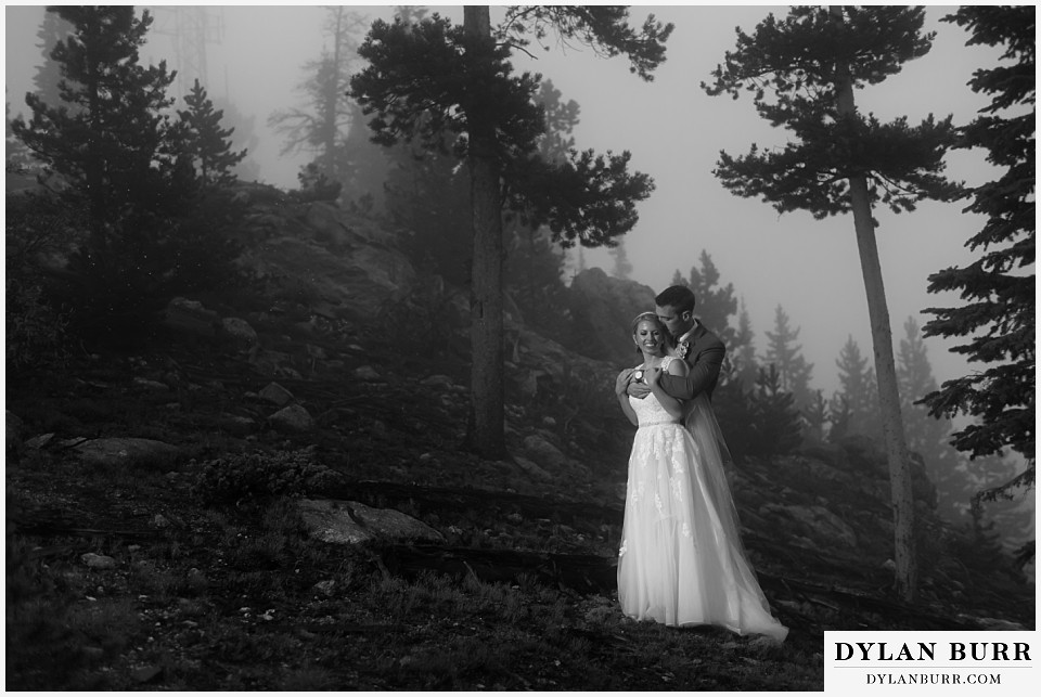 the lodge at sunspot wedding fall mountain wedding winter park black and white couple in fog