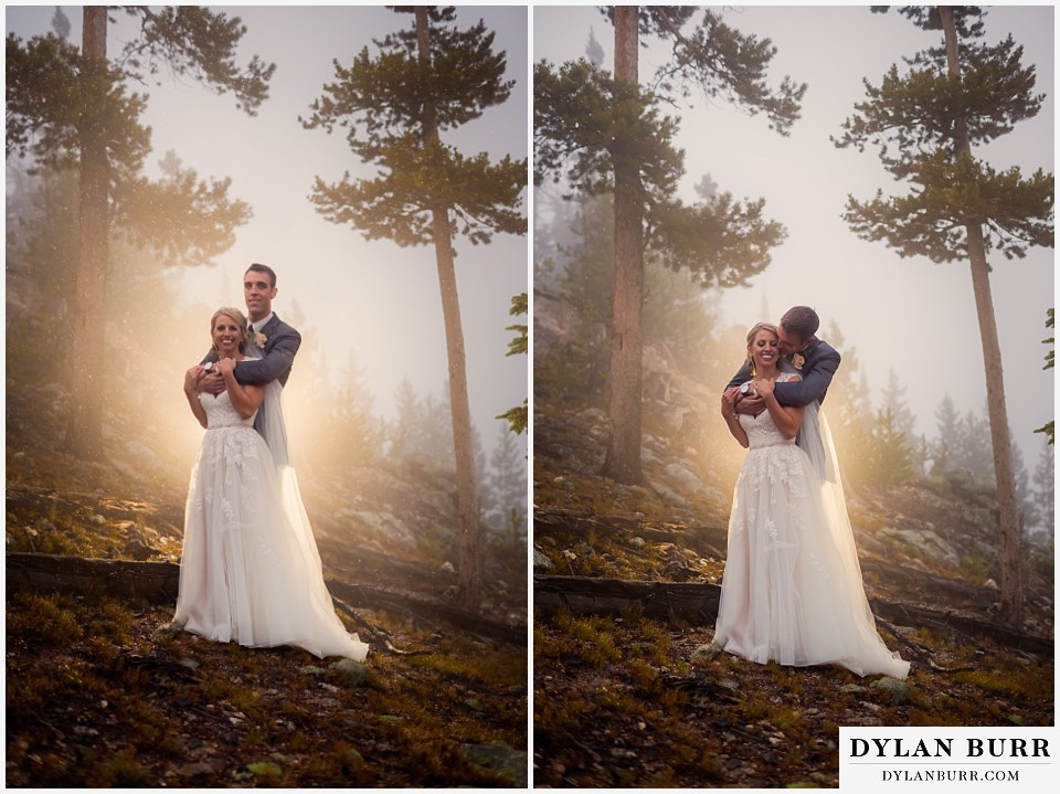 the lodge at sunspot wedding fall mountain wedding winter park wedding couple portraits in fog dramatic