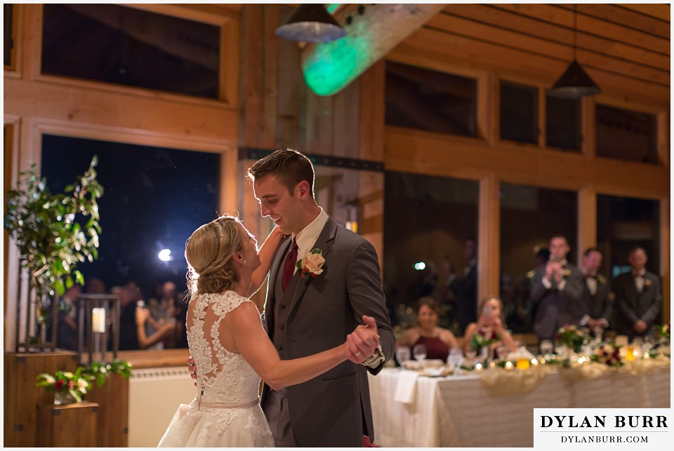 the lodge at sunspot wedding fall mountain wedding winter park first dance at reception