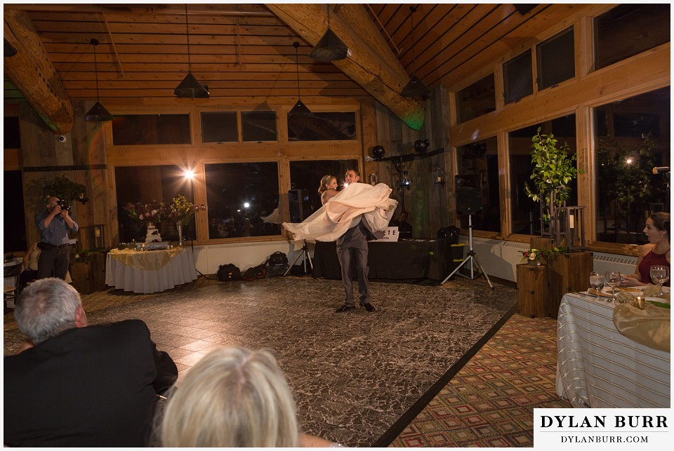 the lodge at sunspot wedding fall mountain wedding winter park first dance spin at reception