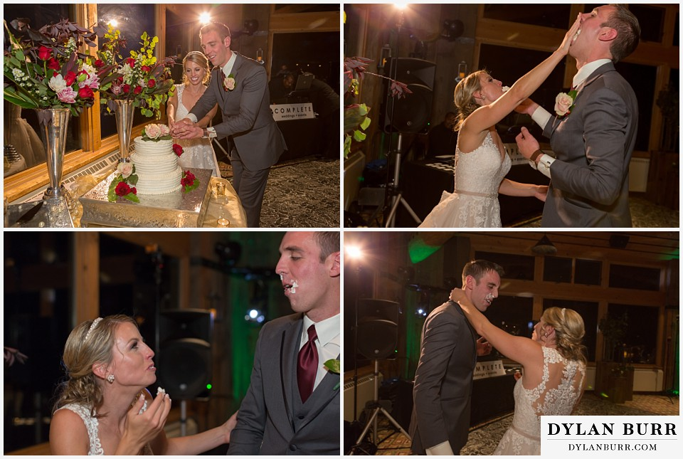 the lodge at sunspot wedding fall mountain wedding winter park cake cutting face smash smoosh