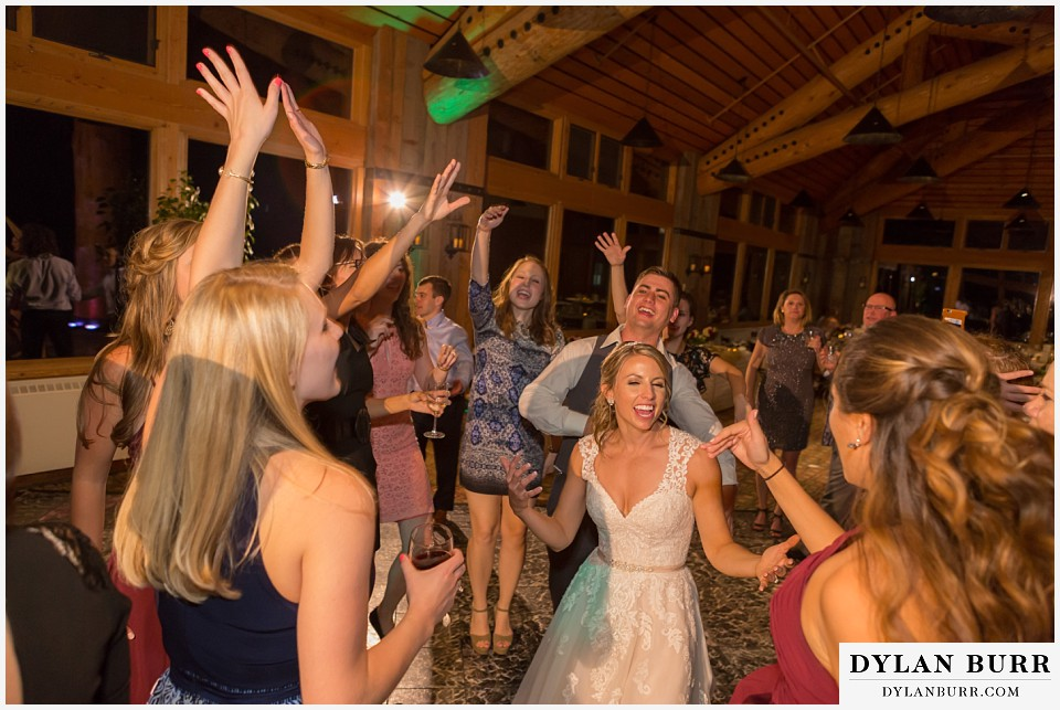 the lodge at sunspot wedding fall mountain wedding winter park reception party bride party