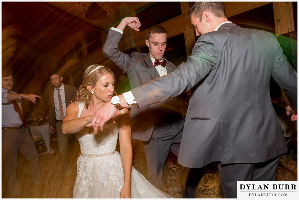 the lodge at sunspot wedding fall mountain wedding winter park reception party bride dancing