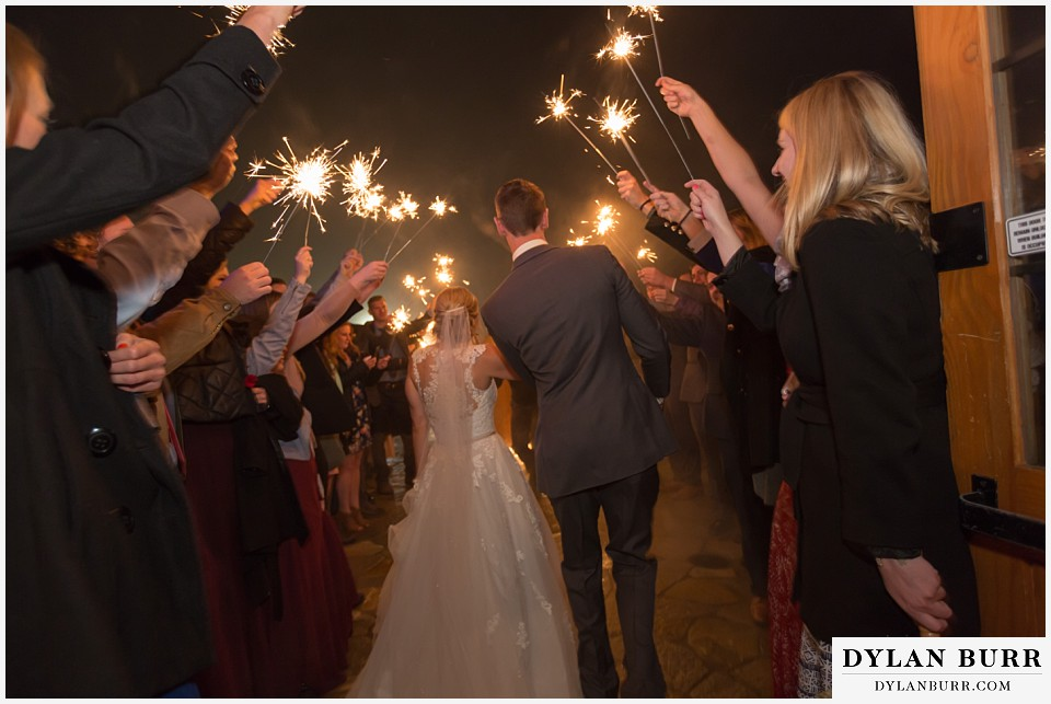 the lodge at sunspot wedding fall mountain wedding winter park reception party sparkler exit