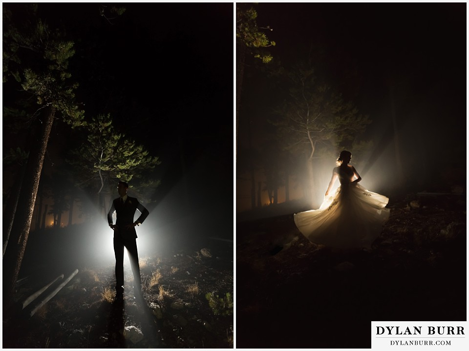the lodge at sunspot wedding fall mountain wedding winter park night portraits of wedding couple bride and groom qin fog