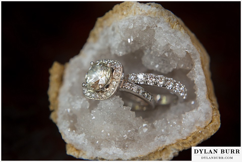 grand teton destination wedding rings in geode