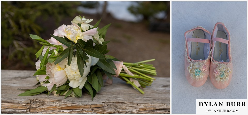 grand teton destination wedding bouquet and daughters shoes