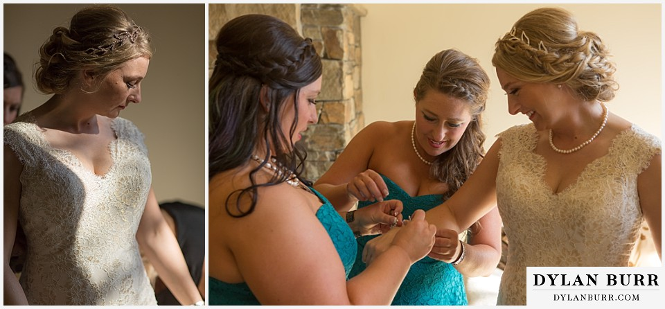 grand teton wedding bride getting ready with bridesmaids