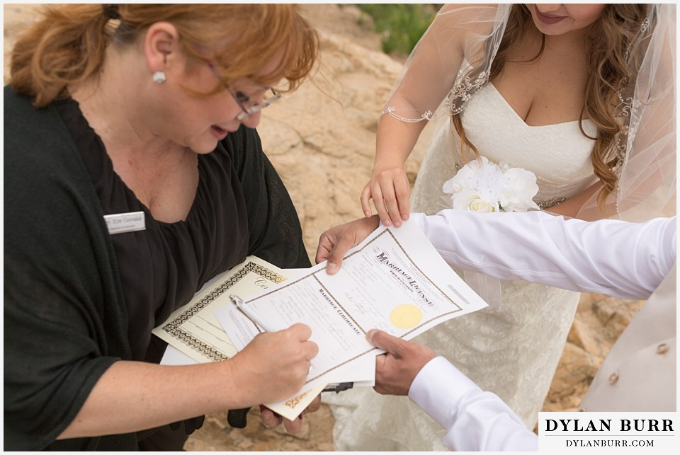 colorado mountain elopement lost gulch overlook wedding boulder co signing marriage liscence