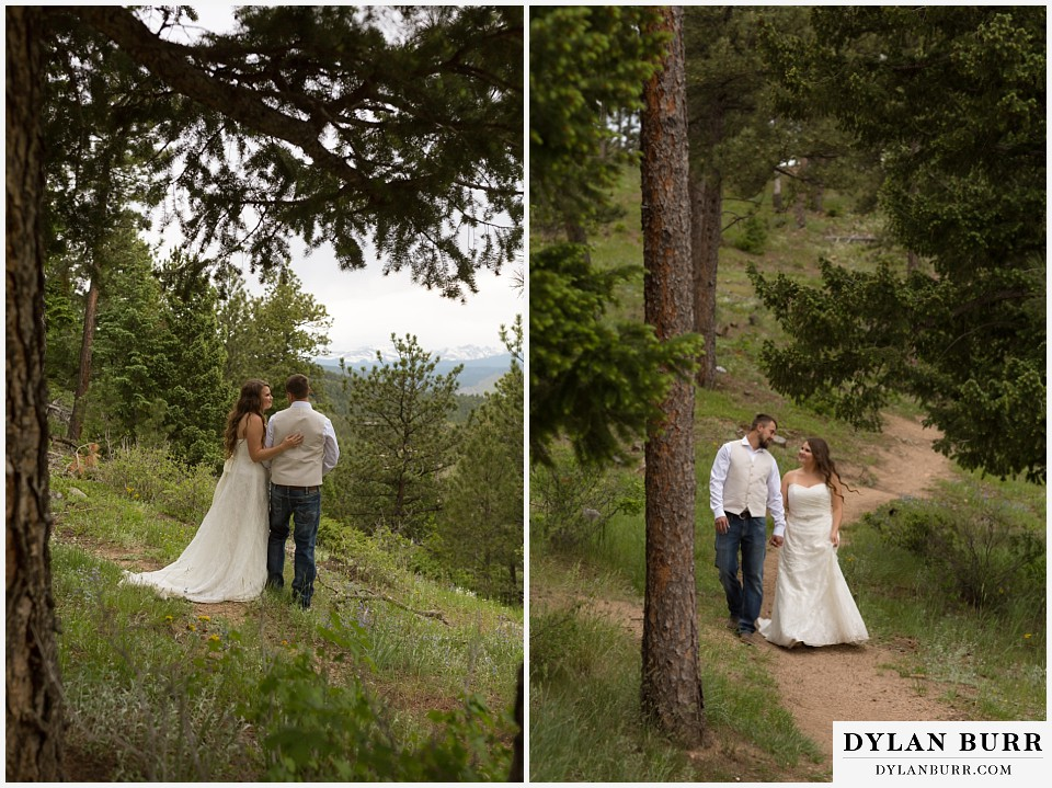 colorado mountain elopement lost gulch overlook wedding boulder co walking on trail in pine trees