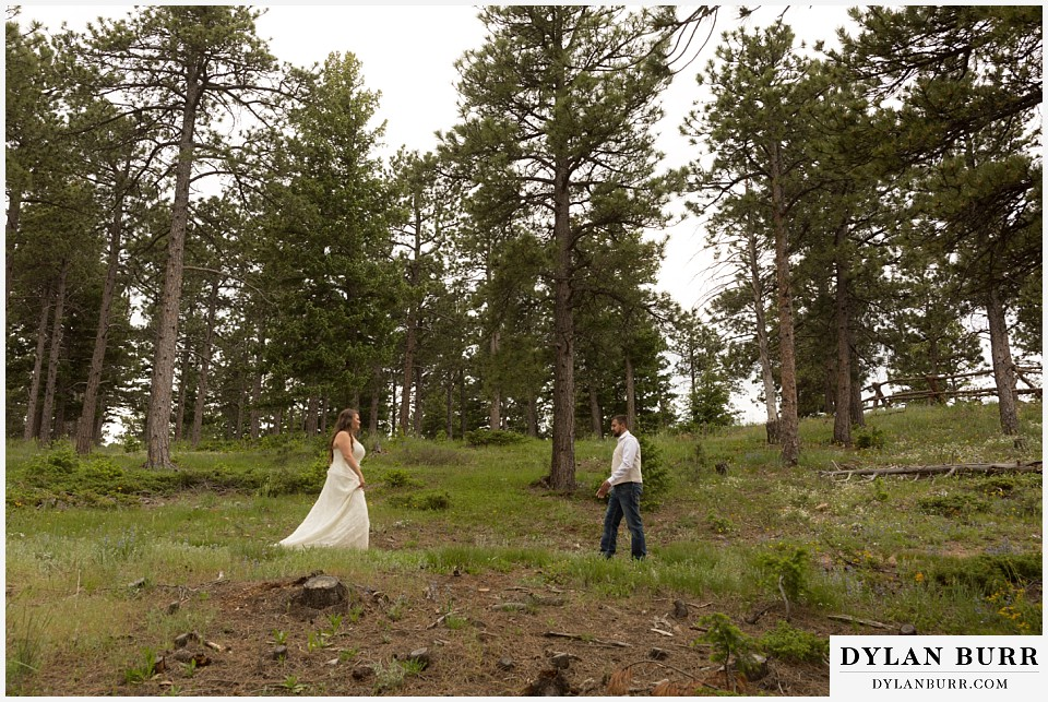 colorado mountain elopement lost gulch overlook wedding boulder co walking towards eachother