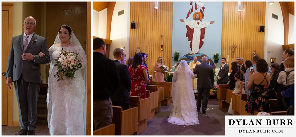 mother cabrini shrine wedding golden colorado bride with her father coming down aisle