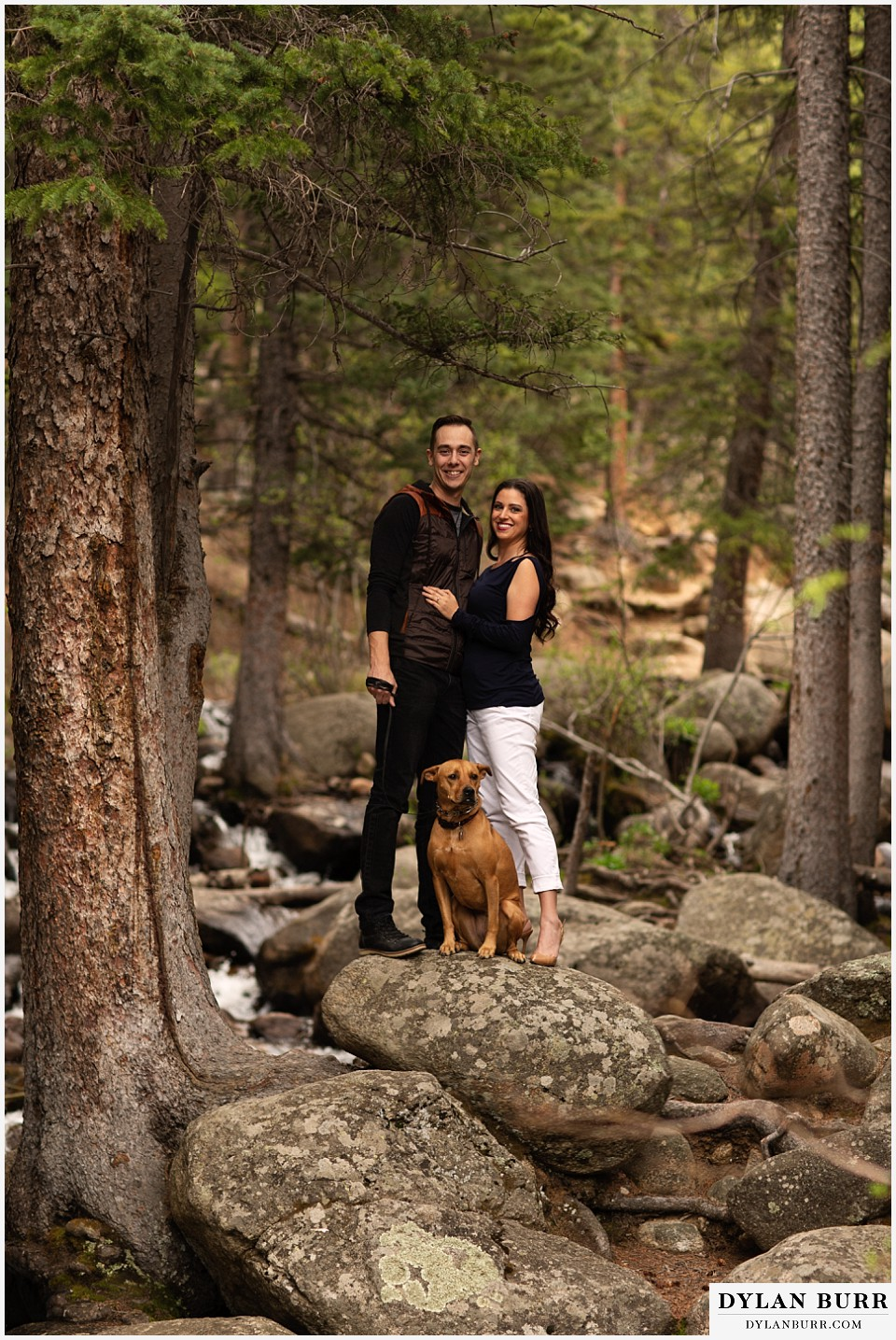 rocky mountain engagement session in colorado with dog at river