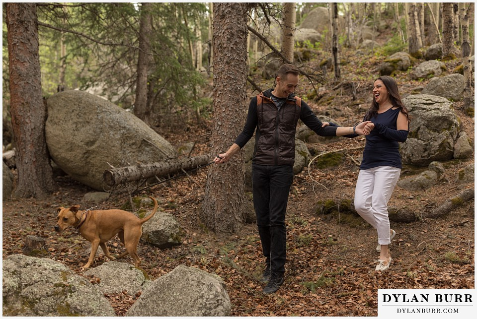rocky mountain engagement session in colorado hiking