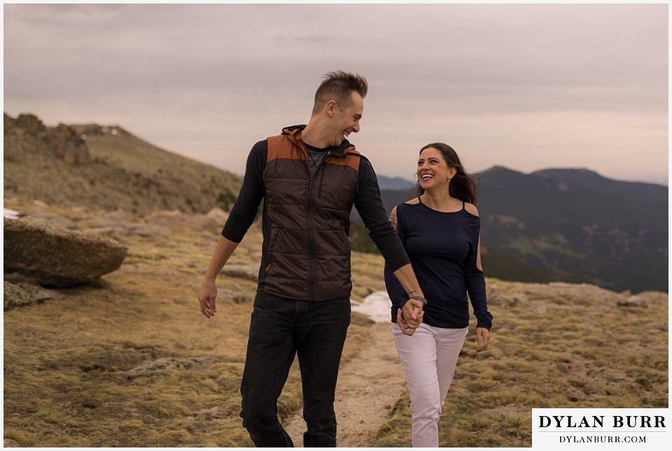 rocky mountain engagement session in colorado laughing together