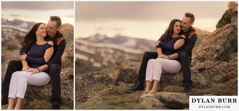 rocky mountain engagement session in colorado sitting on rocks
