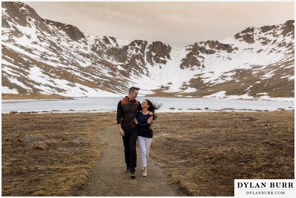 rocky mountain engagement session in colorado mountain summit lake