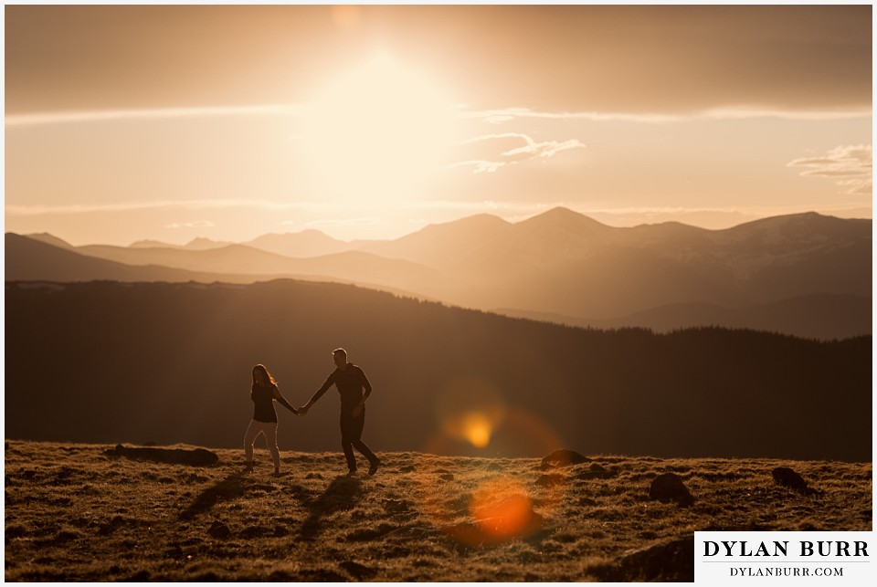 rocky mountain engagement session in colorado huge sunset mountain views