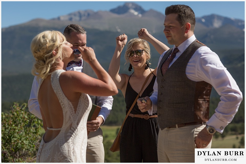 rocky mountain national park wedding elopement whiskey toast
