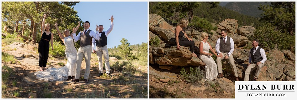 rocky mountain national park wedding elopement bridal party together on rocks
