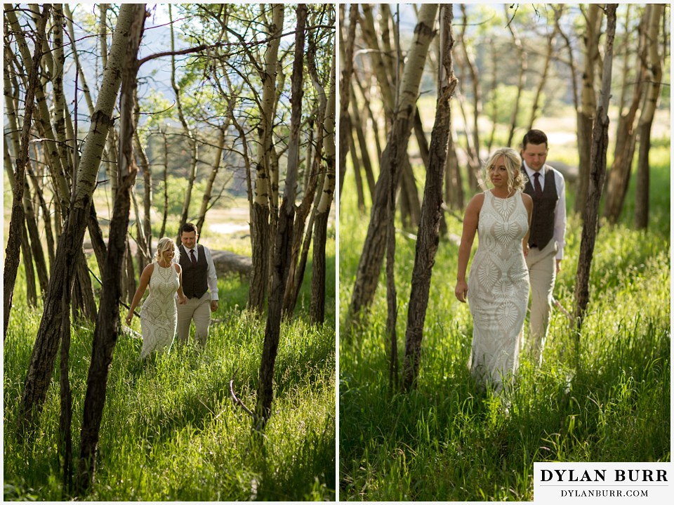 rocky mountain national park wedding elopement bride leading groom through the aspen tree grove