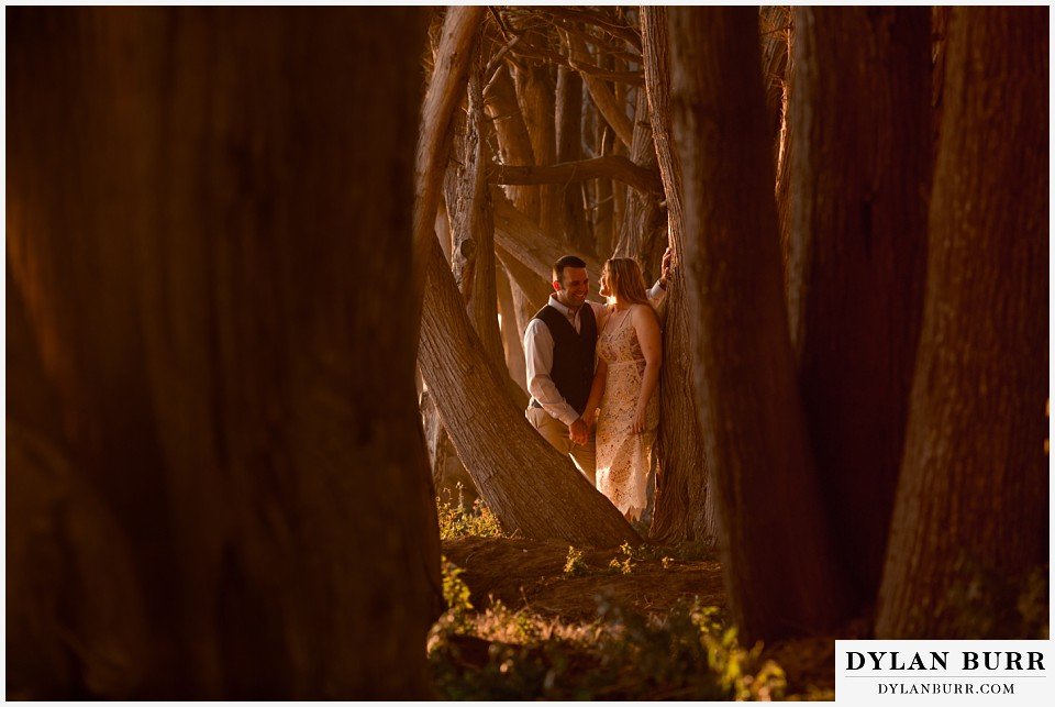 santa cruz california elopement wedding adventure bride and groom cypress tree tunnel at sunset