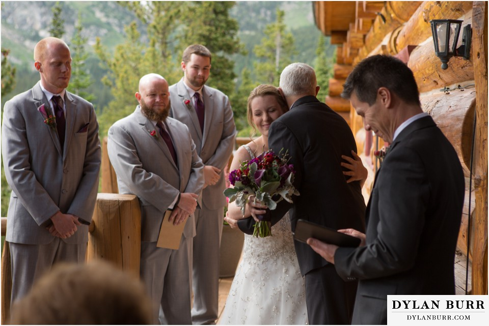 colorado mountain wedding ceremony silverlake lodge father daughter