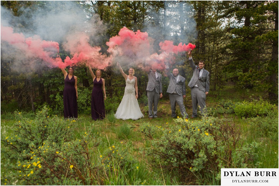 colorado mountain wedding silverlake lodge bridal party smoke bombs