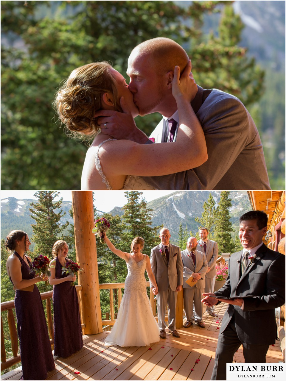 colorado mountain wedding silverlake lodge first kiss
