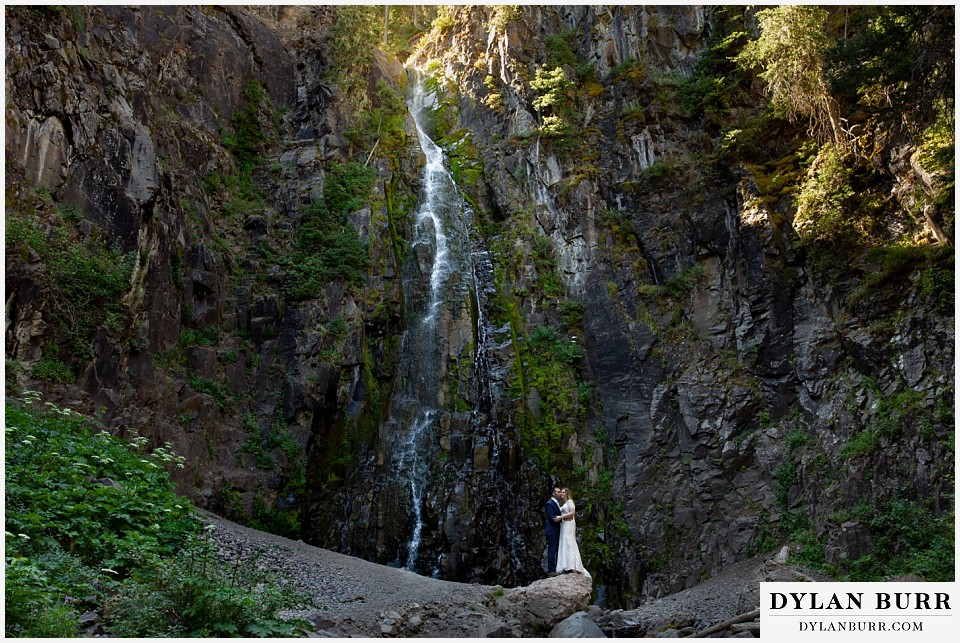 uncompahgre national forest colorado elopement wedding adventure bride and groom with waterfall