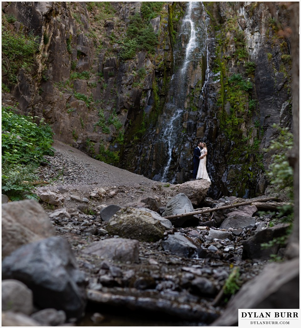uncompahgre national forest colorado elopement wedding adventure bride and groom panoramic waterfall portrait