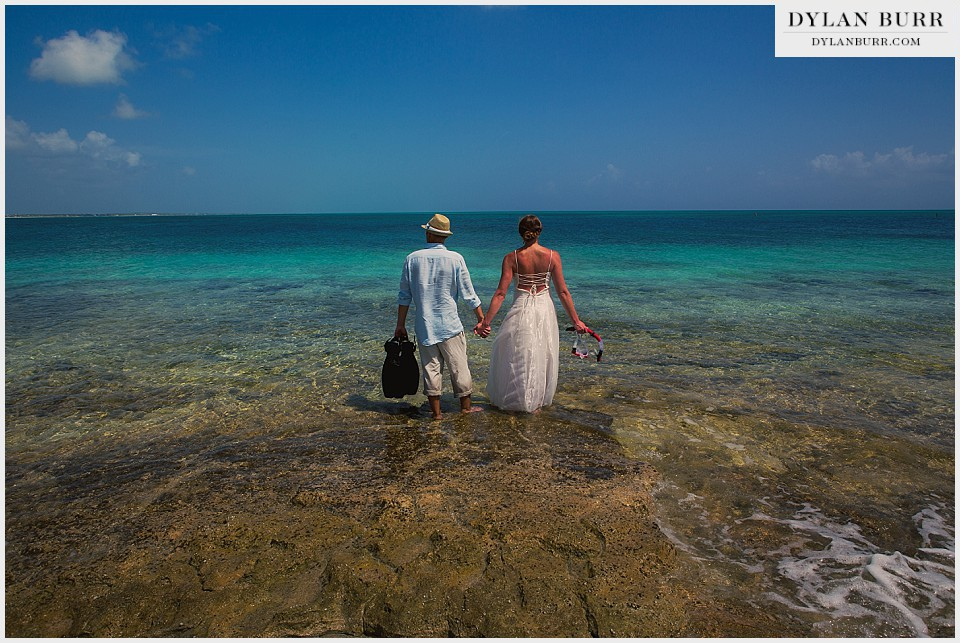 underwater wedding photography about to enter water turks caicos