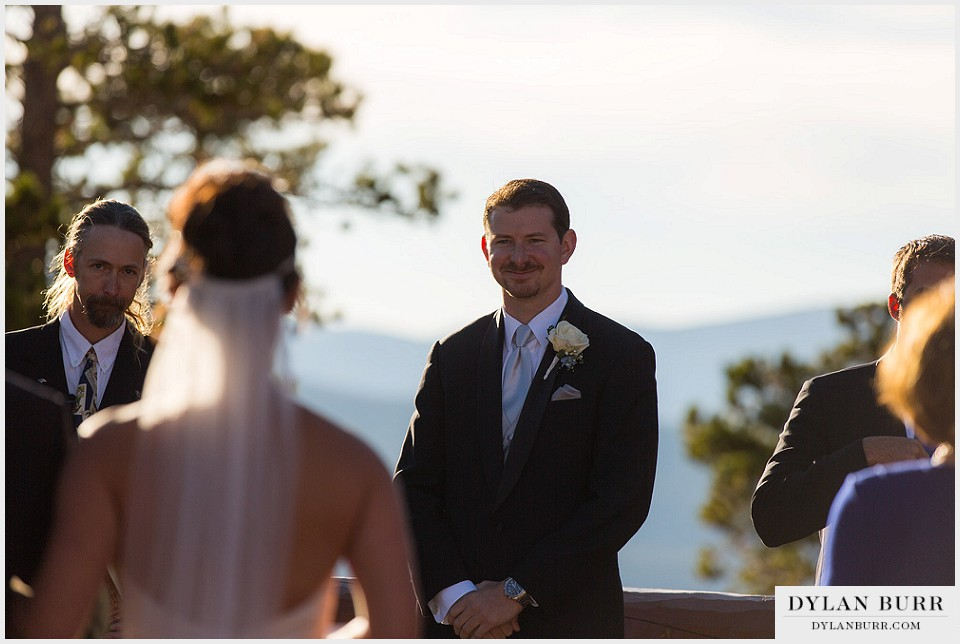 winter park wedding lodge at sunspot ceremony groom reaction