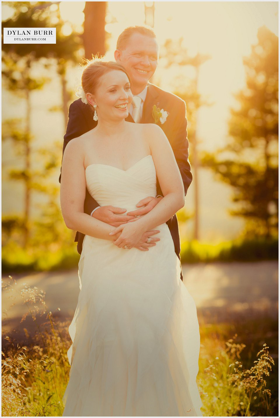 winter park wedding bride groom sunset portrait