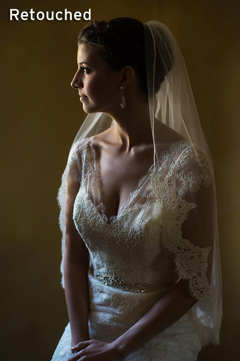 bride sitting in widow light before ceremony